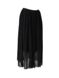 Italian 2 Layered Glittery Belt Plain Silk Skirt-Black