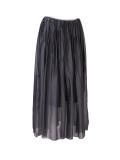 Italian 2 Layered Glittery Belt Plain Silk Skirt-Charcoal
