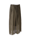 Italian 2 Layered Glittery Belt Plain Silk Skirt-Khaki