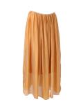 Italian 2 Layered Glittery Belt Plain Silk Skirt-Mustard