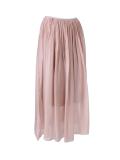 Italian 2 Layered Glittery Belt Plain Silk Skirt-pink