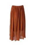 Italian 2 Layered Glittery Belt Plain Silk Skirt-Rust