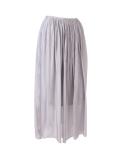 Italian 2 Layered Glittery Belt Plain Silk Skirt-silver