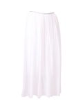 Italian 2 Layered Glittery Belt Plain Silk Skirt-White