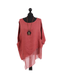 Italian Asymmetric Necklace Embellished Lagenlook Linen Top-Sugar poppy