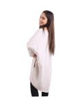 Italian Batwing Sequin Star High Low Cotton Lagenlook Top-Beige 6