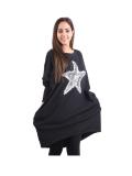 Italian Batwing Sequin Star High Low Cotton Lagenlook Top-Black 1