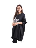Italian Batwing Sequin Star High Low Cotton Lagenlook Top-Black 3