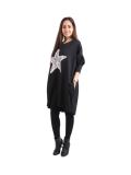 Italian Batwing Sequin Star High Low Cotton Lagenlook Top-Black 4