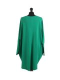 Italian Batwing Sequin Star High Low Cotton Lagenlook Top-Bottle green back