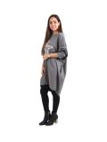 Italian Batwing Sequin Star High Low Cotton Lagenlook Top-Charcoal 3