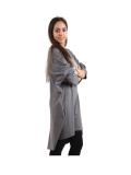 Italian Batwing Sequin Star High Low Cotton Lagenlook Top-Charcoal 2
