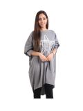 Italian Batwing Sequin Star High Low Cotton Lagenlook Top-Dark grey 1