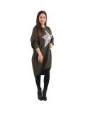 Italian Batwing Sequin Star High Low Cotton Lagenlook Top-Khaki 2