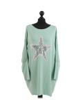 Italian Batwing Sequin Star High Low Cotton Lagenlook Top-Mist green-Mist green
