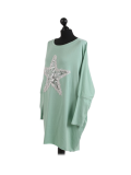 Italian Batwing Sequin Star High Low Cotton Lagenlook Top-Mist green-Mist green side