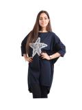 Italian Batwing Sequin Star High Low Cotton Lagenlook Top-Navy 1
