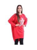 Italian Batwing Sequin Star High Low Cotton Lagenlook Top-Red 1