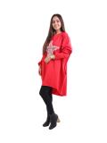 Italian Batwing Sequin Star High Low Cotton Lagenlook Top-Red 3