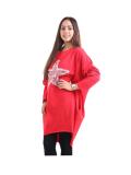 Italian Batwing Sequin Star High Low Cotton Lagenlook Top-Red 2