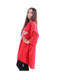 Italian Batwing Sequin Star High Low Cotton Lagenlook Top-Red 4
