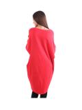 Italian Batwing Sequin Star High Low Cotton Lagenlook Top-Red 5
