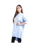 Italian Batwing Sequin Star High Low Cotton Lagenlook Top-Sky blue 3
