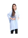 Italian Batwing Sequin Star High Low Cotton Lagenlook Top-Sky blue 1