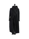 Italian Cowl Neck Plus Size Cotton Lagenlook Cardigan-Black
