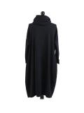 Italian Cowl Neck Plus Size Cotton Lagenlook Cardigan-Black back