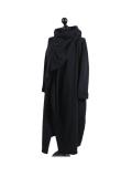 Italian Cowl Neck Plus Size Cotton Lagenlook Cardigan-Black side