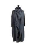 Italian Cowl Neck Plus Size Cotton Lagenlook Cardigan-Charcoal