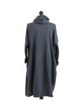 Italian Cowl Neck Plus Size Cotton Lagenlook Cardigan-Charcoal back