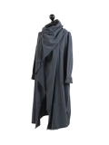 Italian Cowl Neck Plus Size Cotton Lagenlook Cardigan-Charcoal side