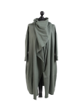 Italian Cowl Neck Plus Size Cotton Lagenlook Cardigan-Khaki