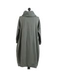 Italian Cowl Neck Plus Size Cotton Lagenlook Cardigan-Khaki back