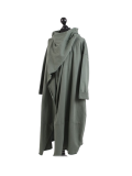 Italian Cowl Neck Plus Size Cotton Lagenlook Cardigan-Khaki side