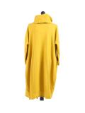 Italian Cowl Neck Plus Size Cotton Lagenlook Cardigan-Mustard back