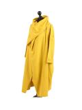 Italian Cowl Neck Plus Size Cotton Lagenlook Cardigan-Msutard side