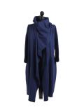 Italian Cowl Neck Plus Size Cotton Lagenlook Cardigan-Navy