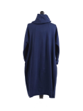 Italian Cowl Neck Plus Size Cotton Lagenlook Cardigan-navy back