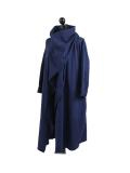 Italian Cowl Neck Plus Size Cotton Lagenlook Cardigan-navy side