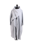 Italian Cowl Neck Plus Size Cotton Lagenlook Cardigan-Silver