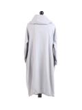 Italian Cowl Neck Plus Size Cotton Lagenlook Cardigan-Silver back