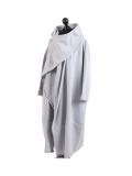 Italian Cowl Neck Plus Size Cotton Lagenlook Cardigan-silver side