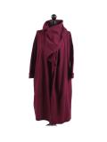 Italian Cowl Neck Plus Size Cotton Lagenlook Cardigan-Wine