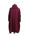 Italian Cowl Neck Plus Size Cotton Lagenlook Cardigan-Wine back