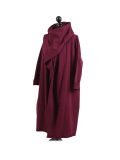 Italian Cowl Neck Plus Size Cotton Lagenlook Cardigan-Wine side