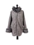 Italian Faux Fur Cape And Sleeves Hooded Lagenlook Jacket-beige