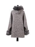 Italian Faux Fur Cape And Sleeves Hooded Lagenlook Jacket-Beige back